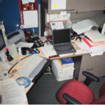 disorganized desk photo